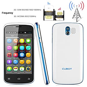 Cubot GT95 4'' Android 4.2 OS Unlocked 3G Smartphone --(2014 Upgraded version for Cubot GT72) MTK6572 Dual Core Mobile Phone 4G ROM Dual SIM Dual Standby Dual Cameras Cellphone WIFI OTA WIFI Bluetooth Support Micro SIM Card 3G Moblie Phone (White)