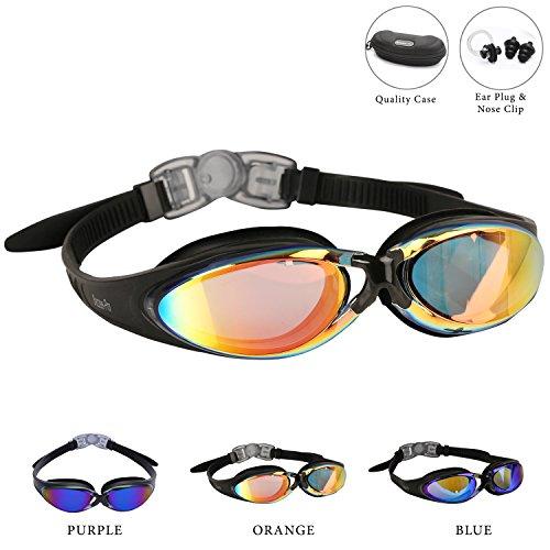 Bezzee-Pro Schwimmbrillen für Erwachsene mit lilafarbenen Spiegelgläsern u. hochwertigem Silikon-Kopfriemen – komfortabel, dicht, antibeschlag, antibruch, korrosionsfrei, modisch; mit kostenloser Tragehülle, Ohrenstöpsel & Nasenklammer