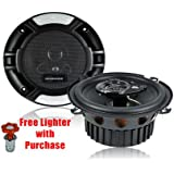 "RENEGADE by ROCKFORD FOSGATE 5.25"" 320W 2-Way Component Car Audio Stereo Speakers System - Pair With FREE Car Cigarette Lighter"