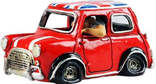 Novelty Mini Morris Car Ornament With Man Character - British Red Flag