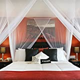 Bohemian Bed Canopy | Luxurious White Netting Curtain Bedding Decor | Fits California King, King, Queen, Full or Twin | By Posh Earth