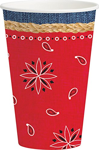 Creative Converting 8 Count Bandanarama Hot/Cold Cups , 12 oz, Red
