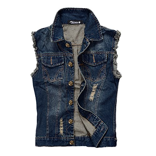 Denim Vest Waistcoat for Men. Ideal for creating an 80s punk rock style.