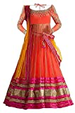 #9: SKY WORLD Exclusive Girl's Orange Net Embroidered Lehenga Choli (8-14 Yrs) (SKW_552)