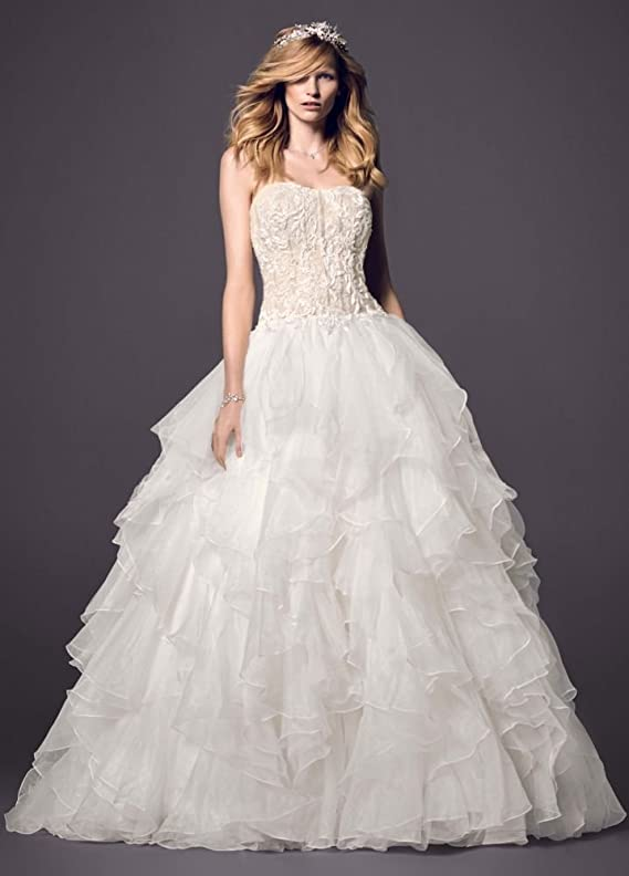 SAMPLE Strapless Ball Gown Wedding Dress with Organza Ruffle Skirt Style..