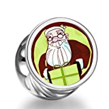 Rarelove Christmas Santa Claus gift box cylindrical photo charm beads