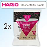 Hario VCF-01-100M 100-sheet Paper Filter Misarashi Outfit Of 2 for 01 Dripper