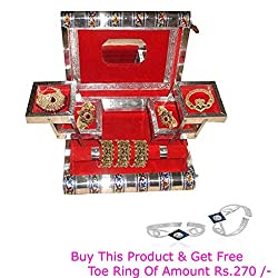 R S Jewels Jewelery Box, Jewellery Box, Jewelery Vanity Box in White Metal For Personnel Use and Gift