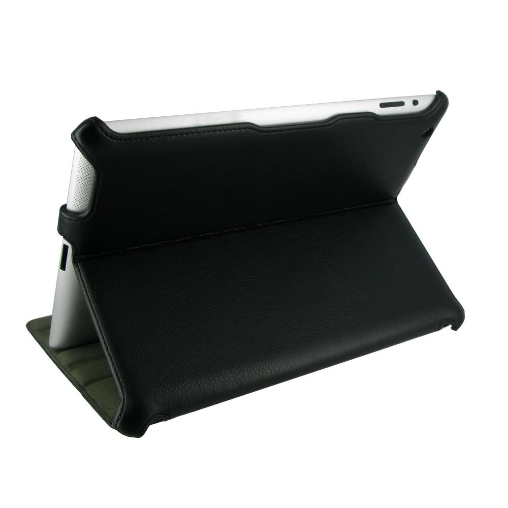 rooCASE Slim-Fit Folio Case for iPad 2 - Black - Back