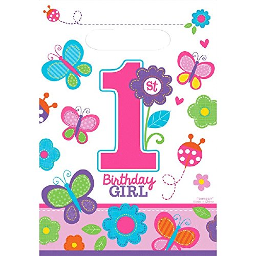 "Amscan Sweet Birthday Girl 1st Birthday Folded Loot Bags, 9.5"" x 6.5"", Pink/Purple - 1"