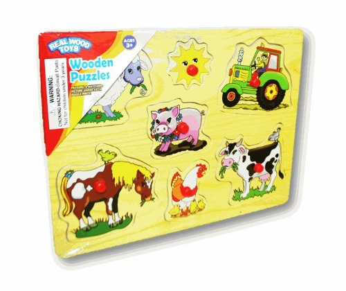Real Wood Toys - Wooden Pegged Puzzle (Farm Animals) - 1