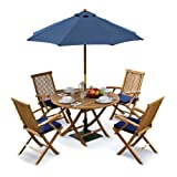 Tuscany Outdoor Dining Set with Teak Table, 4 Chairs and Cushions, Parasol and Base (delivered fully assembled) - Jati Brand, Quality & Value