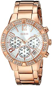 GUESS Women's U0141L3 Dazzling Sporty Crystal Rose Gold-Tone Chronograph Watch