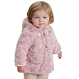 Little Youngster, Long Sleeve Fur Winter Coat for Girls with Hoodie (24M, Dark Pink)