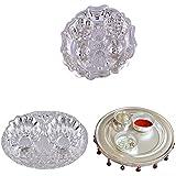 GS MUSEUM Silver Plated Rani Kumkum Plate, Silver Plated Oval Kumkum Plate And Silver Plated 4 Inchi Pooja Thali...