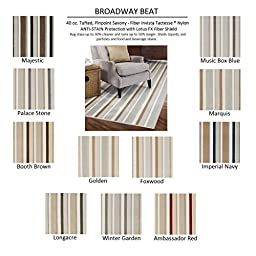2\'x3\' AMBASSADOR RED - BROADWAY BEAT STRIPES - Custom Carpet Area Rug - 40 Oz. Tufted, Pinpoint Saxony - Nylon by Milliken (11 Colors to Choose From)