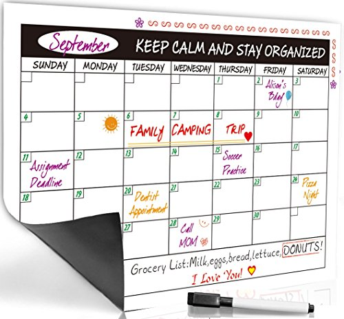 Premium Monthly Magnetic Refrigerator Calendar ✮ Dry Erase Board ✮ 17 x 12 inches ✮ Free Board Marker Included ✮ Organize And Plan The Month Ahead ✮ Ideal For Busy Homes And Classrooms (Dry Erase Board Mounting Bracket compare prices)
