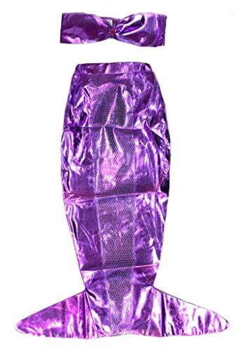Mädchen 2-Teiliges Meerjungfrau Kostüm - Kinderkostüm - Violett - Gr. L (10-12 Jahre)