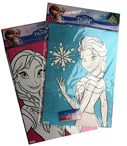Set of 2 ~ Glitter Coloring Sheet with Markers ~ ANNA & ELSA