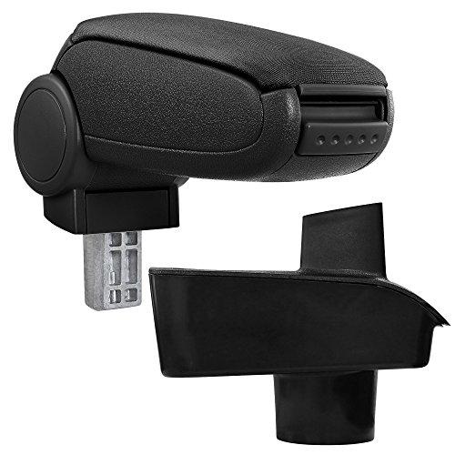 [pro.tec] Bracciolo centrale per Ford Fiesta 2009 (a partire da ottobre 2008, MK7) - Poggiabraccio con vano portaoggetti - imbottito - in tessuto - nero