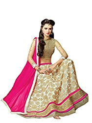 Suchi Fashion Cream & Beige Net Semi Stitched Anarkali Suit/ Lehenga Choli