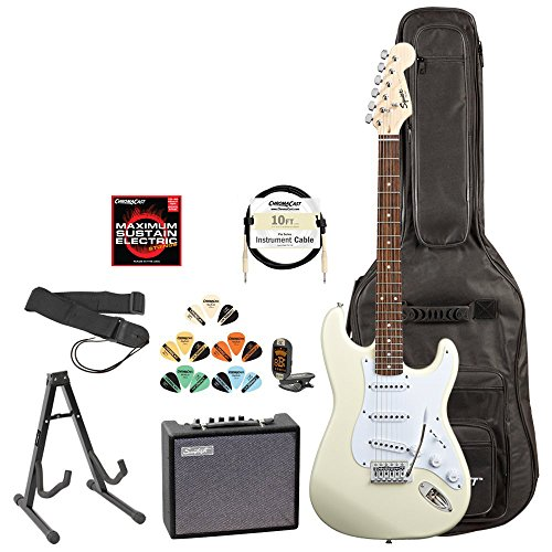 Squire by Fender 028-0002-580-KIT-3 Arctic White Electric Guitar with Accessories and Amp (Fender Starter Pack compare prices)