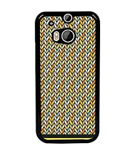 PrintDhaba Zig Zag Pattern D-1695 Back Case Cover for HTC ONE M8s (Multi-Coloured)
