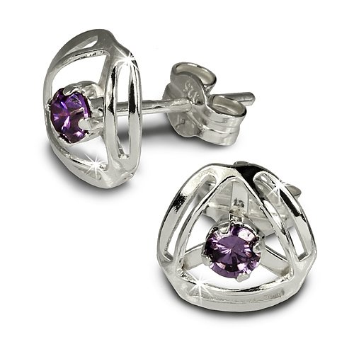 SilberDream earring Design with purple Zirkonia 925 Sterling Silver SDO528V
