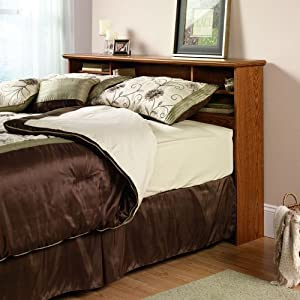 Sauder Orchard Hills Bookcase Headboard, Full/Queen, Carolina Oak Finish