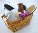 51kQw6TeUFL. SL160 Spa Kit,Spa Bath Basket Pamper Your Soul Bath & Body Invigoration , Deluxe Natural Bath & Beauty Spa Basket, Comes With Gorgeous Super Rich Re Useable Rectangle Basket (Size At 10 Wide x 8.5 Deep x 5 High Plus Convenient Handle) The Super Rich Spa Basket 9 pcs/Set For All Year Round Corporate Gift . The Most Natural Touch To Pamper Your Soul ! This Refreshing Spa Kit Contains : Natural Loofah Spa Slipper, 100% Boar Bristle Body Brush, Pumice Stone, Natural Sisal Facial Puff, Anti Static Wooden comb, Pedicure Footfile, Massage Hair Brush, Women Fashion Lipstick Case and Waffle Cotton Cosmetic Travel Bag(7 D x 6 H). Super Rich Value 100% Satisfaction Guaranteed ! Perfect Idea For Christmas or Birthday Gifts Giving..