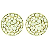 White on Gold Plated Opal Crystal Dome Earrings