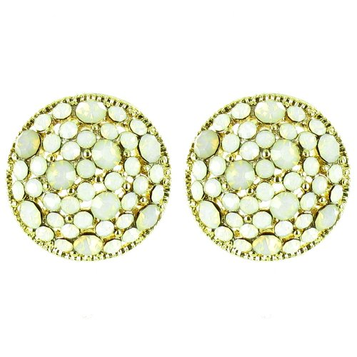 White On Gold Plated Opal Crystal Dome Earrings front-681134