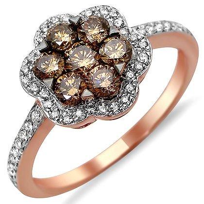 .90Ct Brown Flower Round Diamond Band Ring 14K Rose Pink Gold
