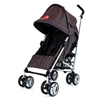BUGGY STROLLER PUSHCHAIR WITH LARGE SUN CANOPY HOOD - ZETA VOOOM - Hot Chocolate with Rain Cover from Baby Travel