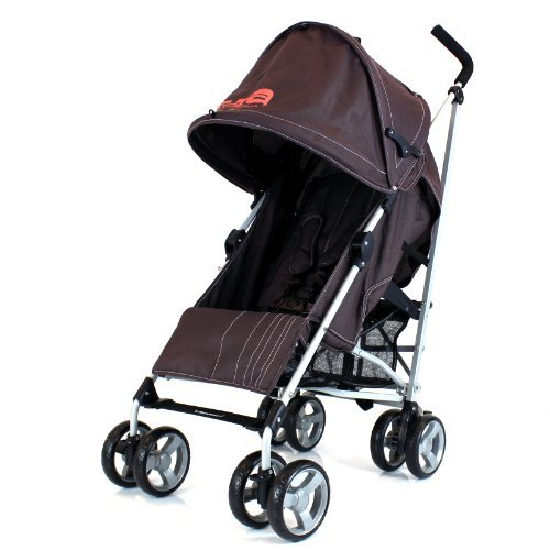 NEW BUGGY STROLLER PUSHCHAIR WITH LARGE SUN CANOPY HOOD - ZETA VOOOM - Hot Chocolate with Rain Cover