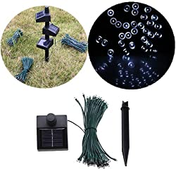 33ft 60 LED Solar String Fairy White Lights Outdoor Garden Xmas (Can Be Overlapped/ Linkable)