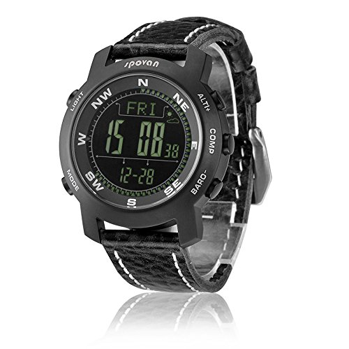 Generic Exquisite Outdoor Hiking Waterproof Watch With Compass,Weather Forecast,Altimeter,Barometer,Barogram,World Time,Alarm Black Band Black Dial