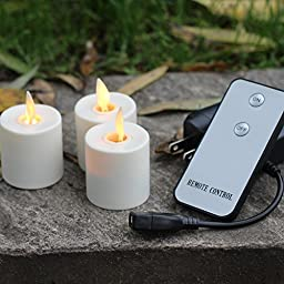 Set of 3 Moving Wick White Led Flameless Remote Control Tea Light Candles