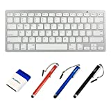 BIRUGEAR Ultra Slim Silver Bluetooth Wireless Keyboard + Stylus + Mini Brush for Acer Aspire P3 Ultrabook, ICONIA A1-830, A1-810, A3-A10, W4-820, W3-810, B1-710, B1-A71, ICONIA TAB A211, W700, W510, W500, A700, A510, A500, A210, A200, A110, A100 Tablet C