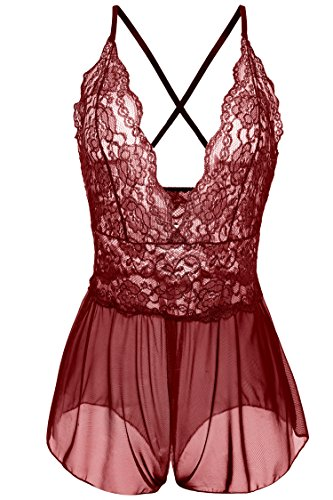 Avidlove Women Sexy Lingerie Lace See-through Babydoll Open Crotch Pant Dress (S = US XS, Red (FBA))