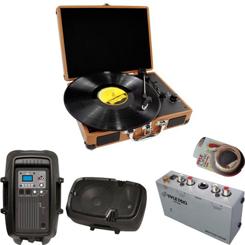 Pyle Turntable Record Player, Pre-Amplifier, Rca Cable And Speaker Package - Pvtt2U Retro Belt-Drive Turntable With Usb-To-Pc Connection, Rechargeable Battery - Pp444 Ultra Compact Phono Turntable Pre-Amplifier - Pphp803Mu 8'' 600 Watt Powered Two-Way Pa