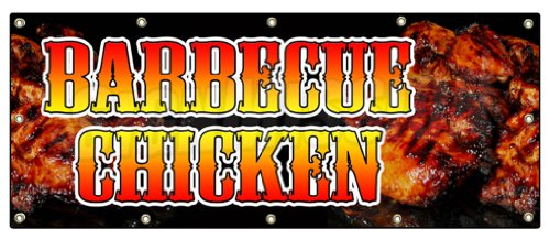 """48""""X120"""" Barbecue Chicken Banner Sign Smoked BBQ Barbeque Grill Bar-B-Que"""