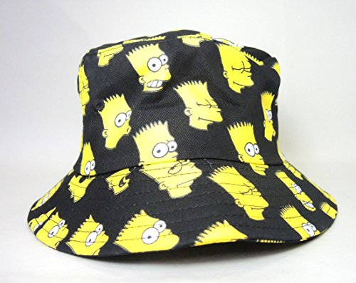 The Simpsons - Black Canvas Hat with Bart Simpson Heads