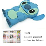 DE Cute 3D Cartoon Animal Series Apple iPhone 5C Case New Blue 3D Cartoon Stitch Movable Ear Shape Style Soft Silicone Rubber Case Protective Cover for Apple iPhone 5C