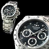 スイス・ブランド デイトナDesign ダイヤモンド使用 メンズ クロノグラフ腕時計 【TECHNOS SWISS】 Dial/Black Hands/Silver 全4色