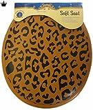Leopard Print Standard Round Soft Padded Toilet Seat Black & Brown
