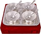 MA DESIGN HUT Decorative Brass Bowl Tray and Spoon in silver plated with gift box Decorative Dining Set Dinner Set Serving Bowl set for use Tableware, Anniversary, Wedding, Valentine, Diwali Gift Item Home Decore in 9 pcs set.