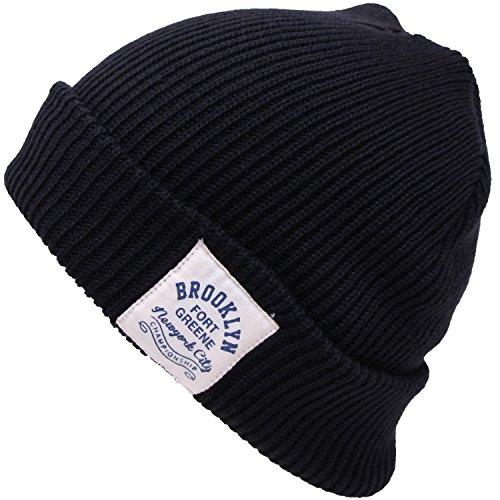 BROOKLYN ロゴタグ付き アクリルダブルニット帽(ニット帽子 ワッチ)