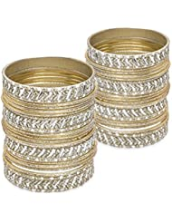 Silver Lining Bangle Set- Cream Lacquer Wedding Bangles For Women