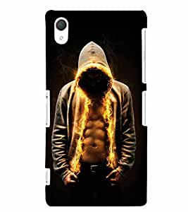 PrintVisa Cool Boy Fire 3D Hard Polycarbonate Designer Back Case Cover for Sony Xperia Z2